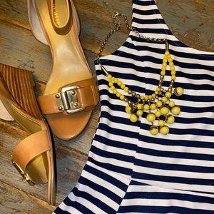 Navy & White Strip Nautical Skater Dress H&M Sz 8